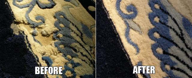 moth damage rug repair