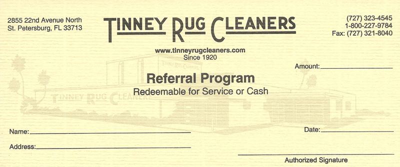 Tinney Rug Cleaners referral coupon